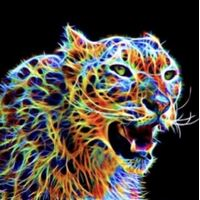 Diamond Art Picture 5D Full Drill Size 30x30cm Rainbow Cheetah