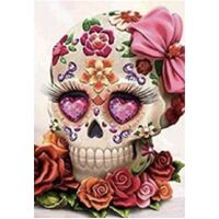 Diamond Art Picture 5D Full Drill Size 30x30cm Roses Skull