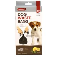 50 Pack Lemon Scented Dog Waste Cleanup Poo Black Bags - Eco Friendly