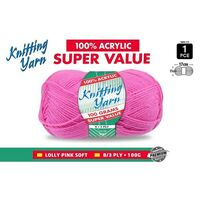 Knitting Yarn 100% Acrylic 8ply 100g Lolly Pink