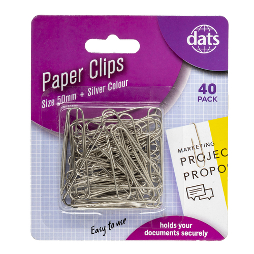 4 x Dats Paper Clips Size 50mm 40 Pack - Silver