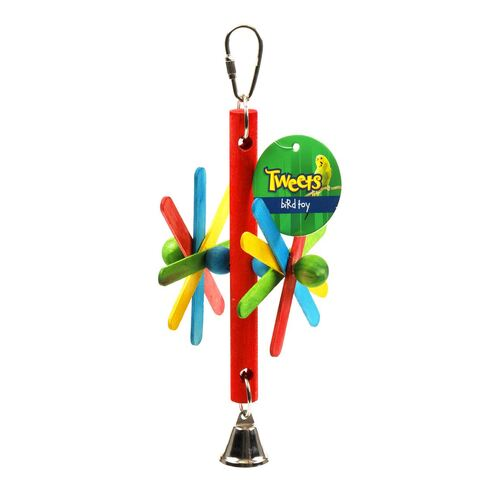 Tweets Bird Toy Hanging Wooden Windmill with Bell 20cm