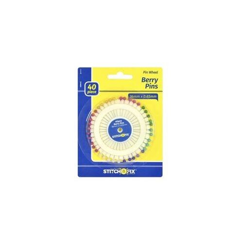 Berry Sewing Pins - Multi Colours Large Heads 40Pcs