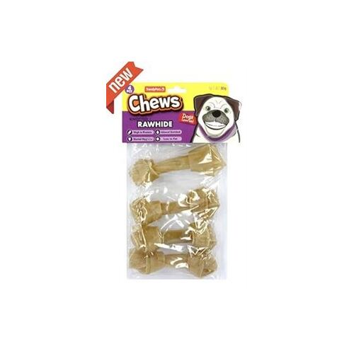 4 x Natural Rawhide Knotted Bone 10cm 80g
