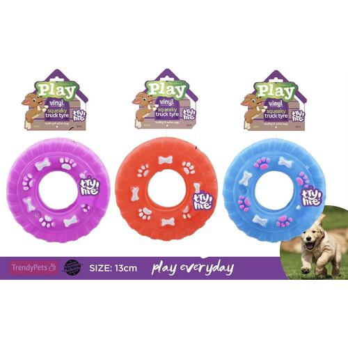 Squeaky Play Vinyl Truck Tyres Dog Toy